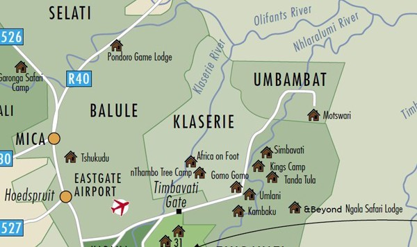 "This maps shows the proximity of the Umbabat area to Africa on Foot and nThambo Tree Camp. The Ross Pride spend most of their time on ""Ross"" where both camps are located."