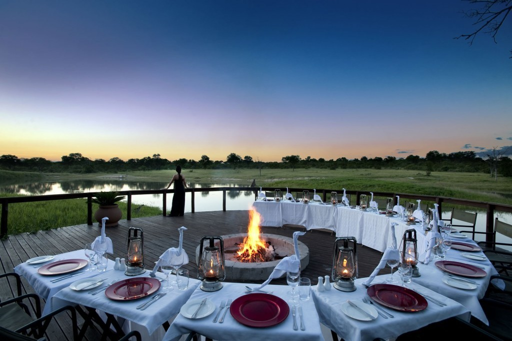 Dining in the boma at Arathusa Safari Lodge