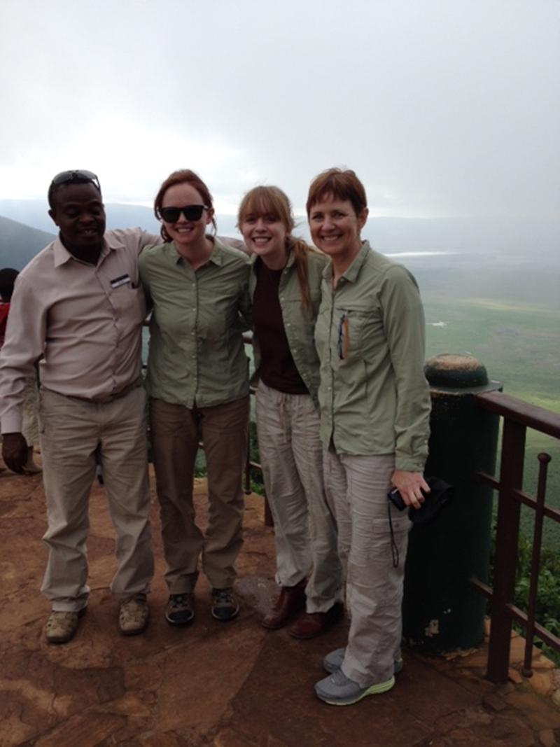Karen and her girls at Ngorongoro Crater