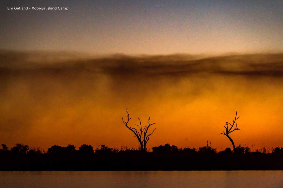 Orange sunsets Okavango Delta