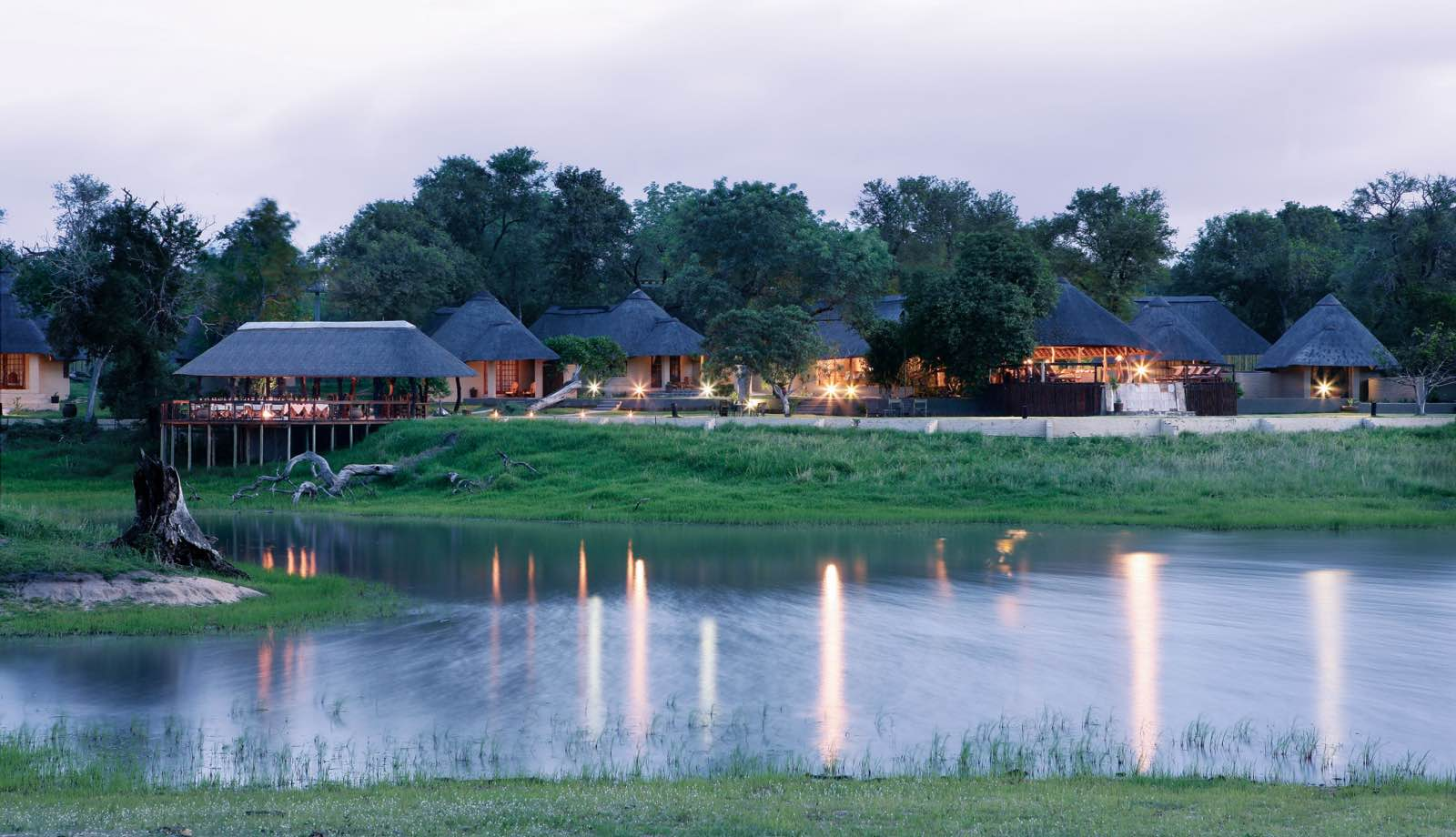 Arathusa Safari Lodge seen from the opposite side of the waterhole