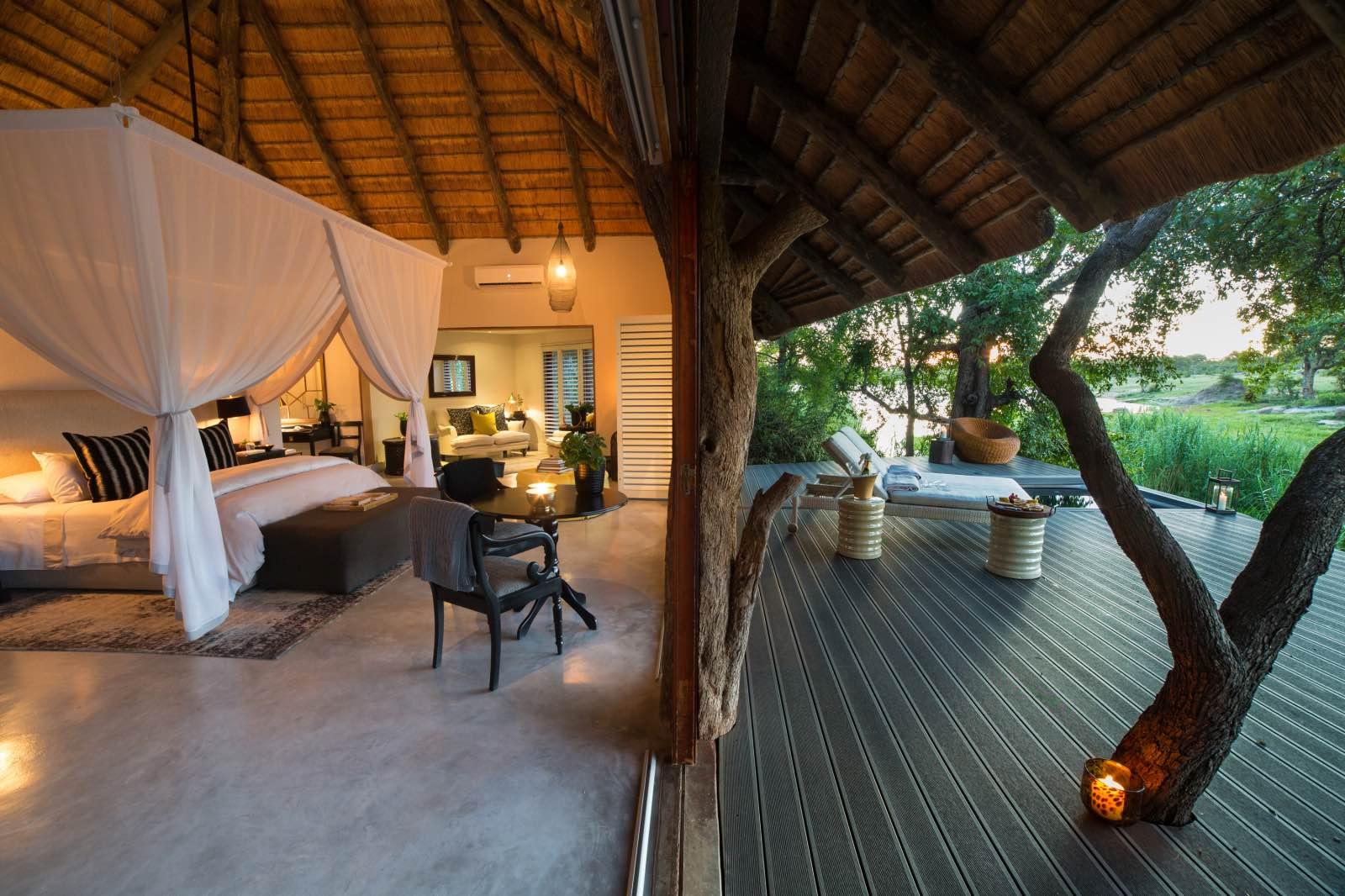 Chitwa luxury suite opening up onto large deck and overlooking the bush