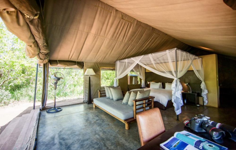 Spacious tented rooms open onto the bush at Khoka Moya Camp