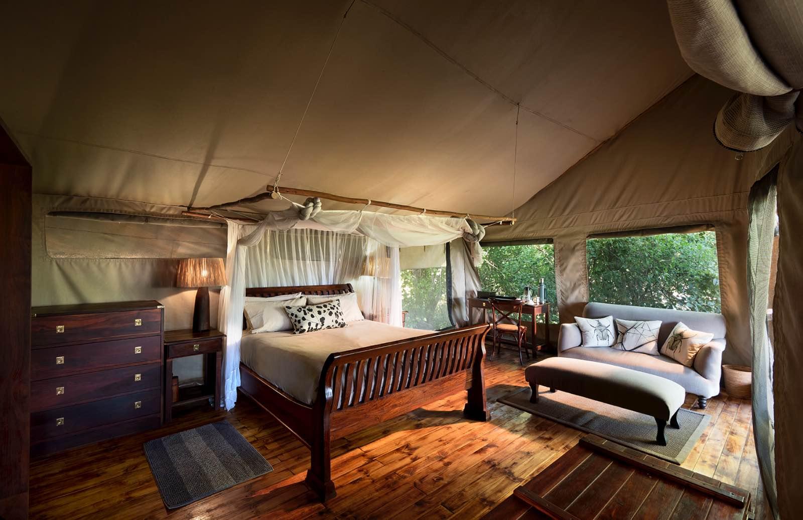 Spacious tent interiors - Linyanti Bush Camp