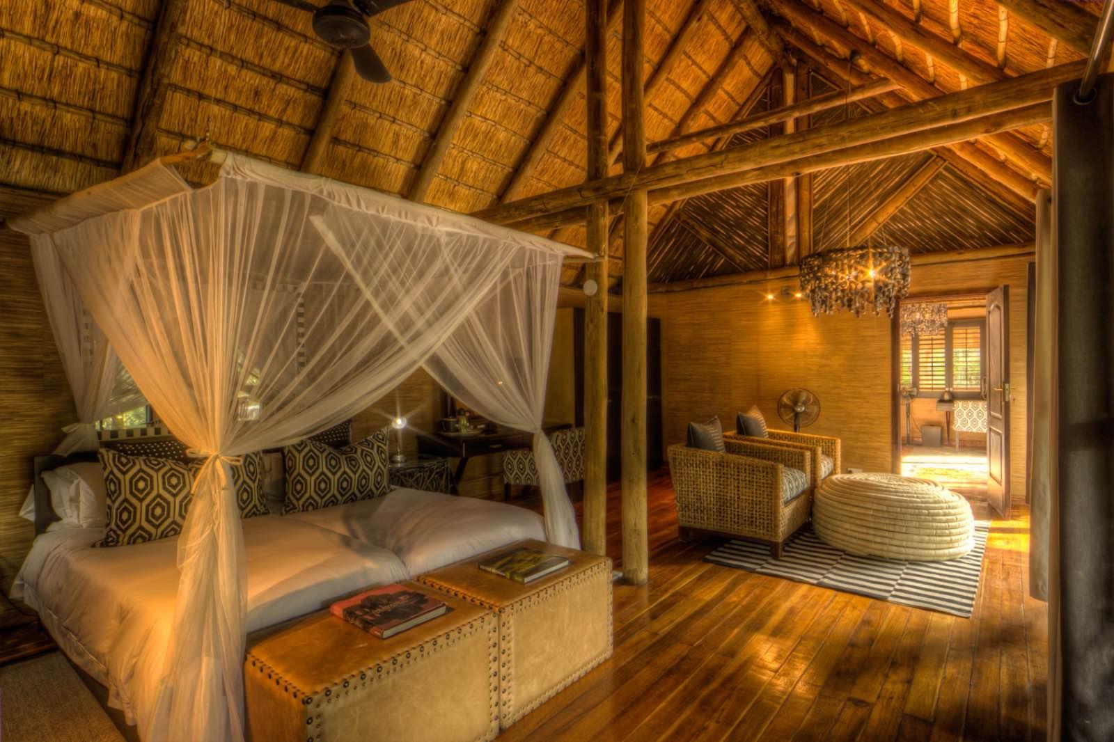 Spacious room interiors at Savute Safari Lodge