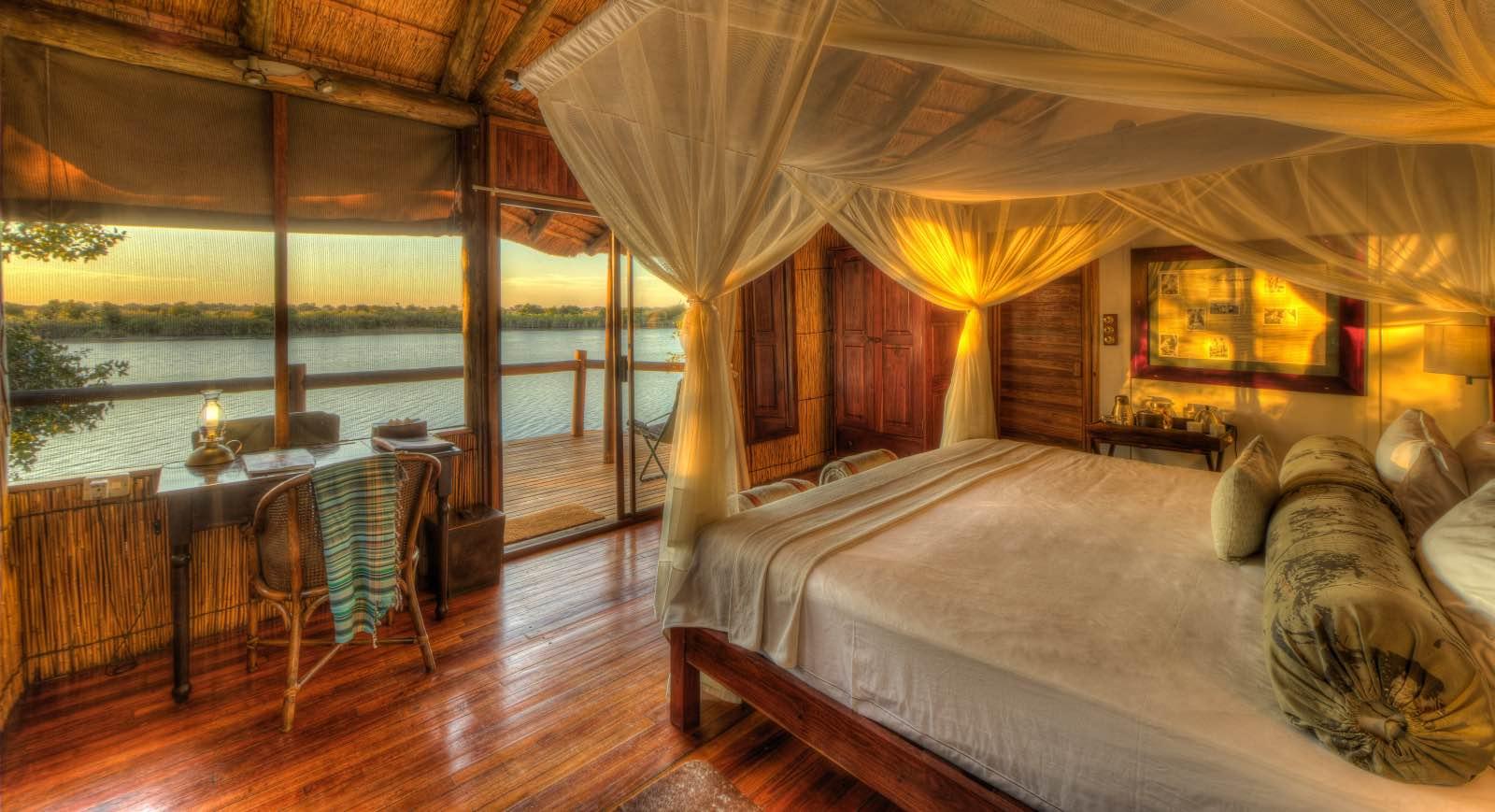 Elevated cabins overlooking the lagoon at Xugana Island Lodge