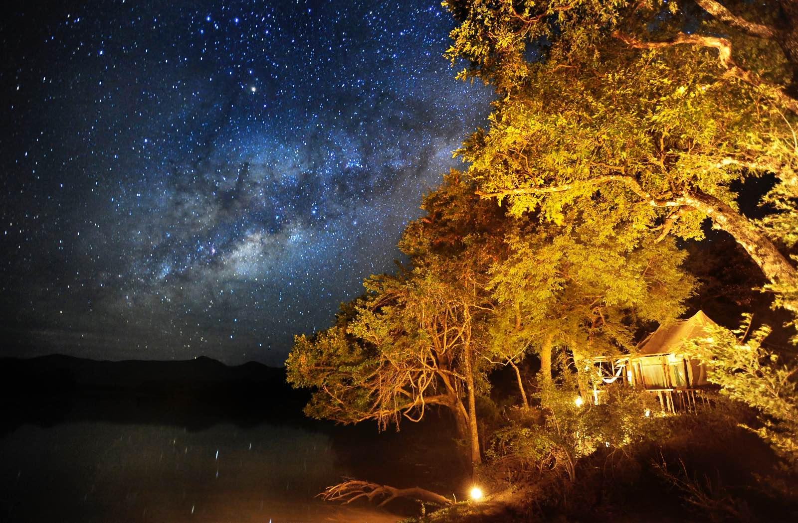 A starry sky above Chindeni Bushcamp