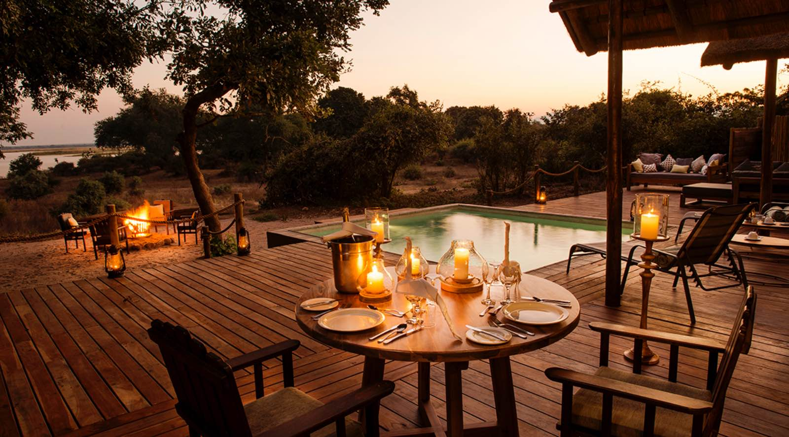 Romantic private dining on the deck at Chiawa Camp Safari Suite