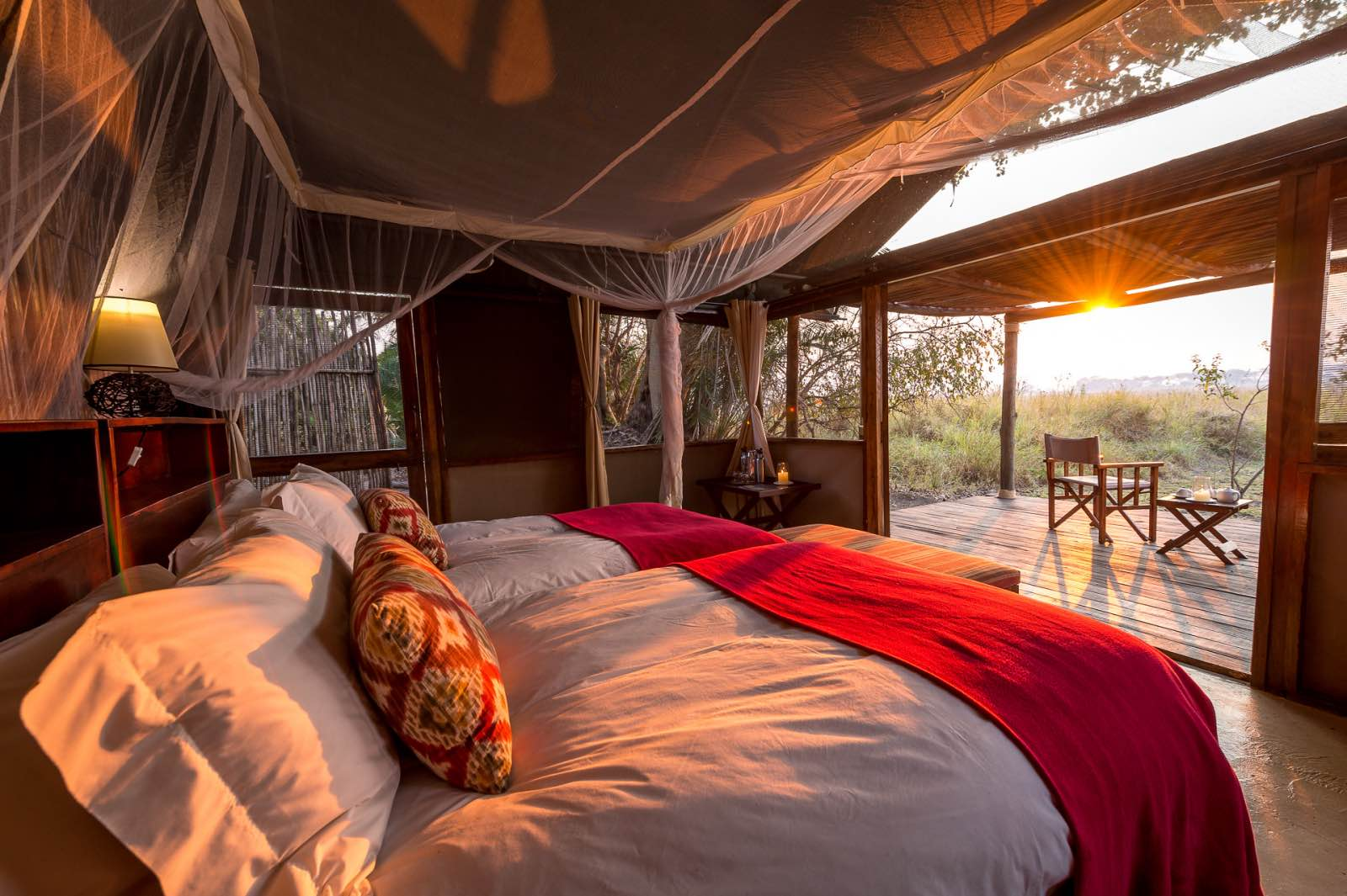Simple luxury and total comfort in each guest suite at Busanga Bush Camp