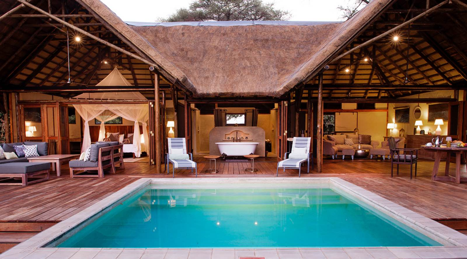 The luxurious Safari Suite at Chiawa Camp with pool at the centre