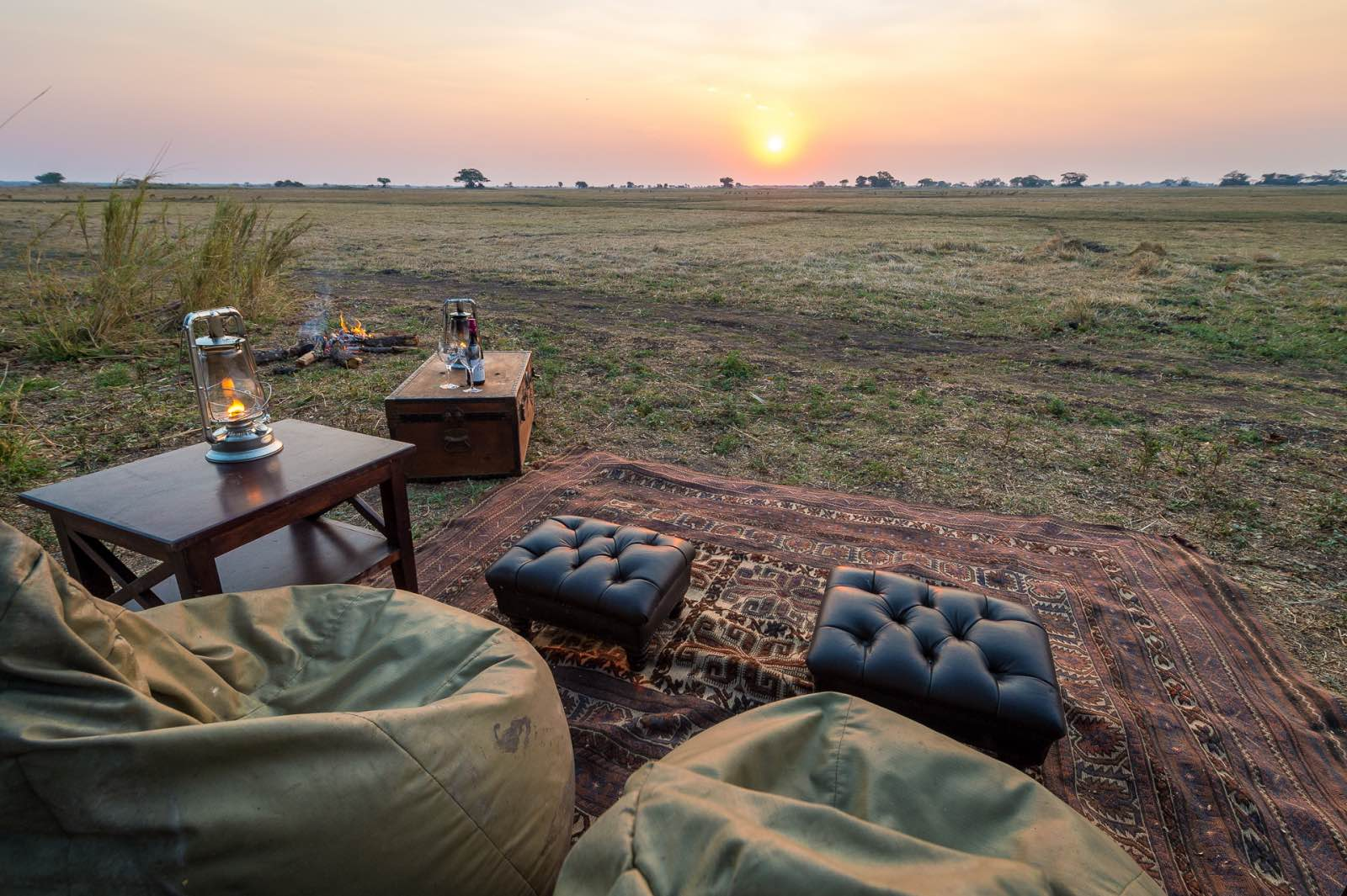 Total relaxation enjoying the sunset overlooking the floodplains at Shumba Camp