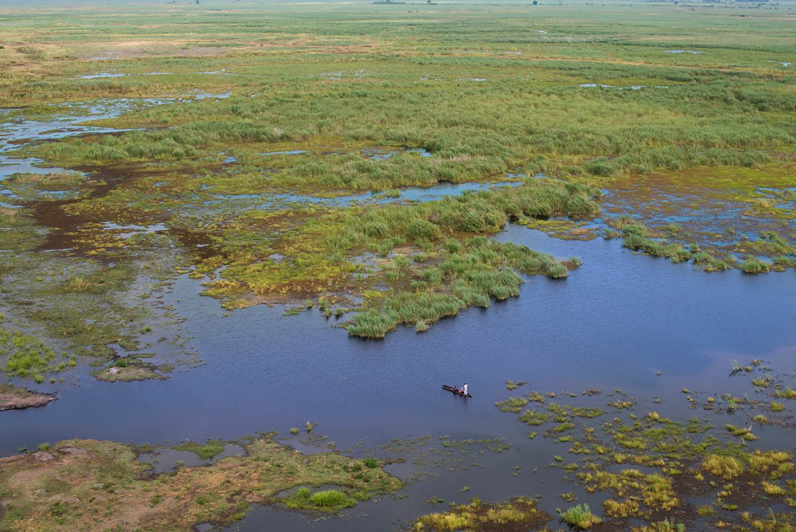 Aerial view of Linyanti swamps with guests on a peaceful mokoro cruise through the lagoon