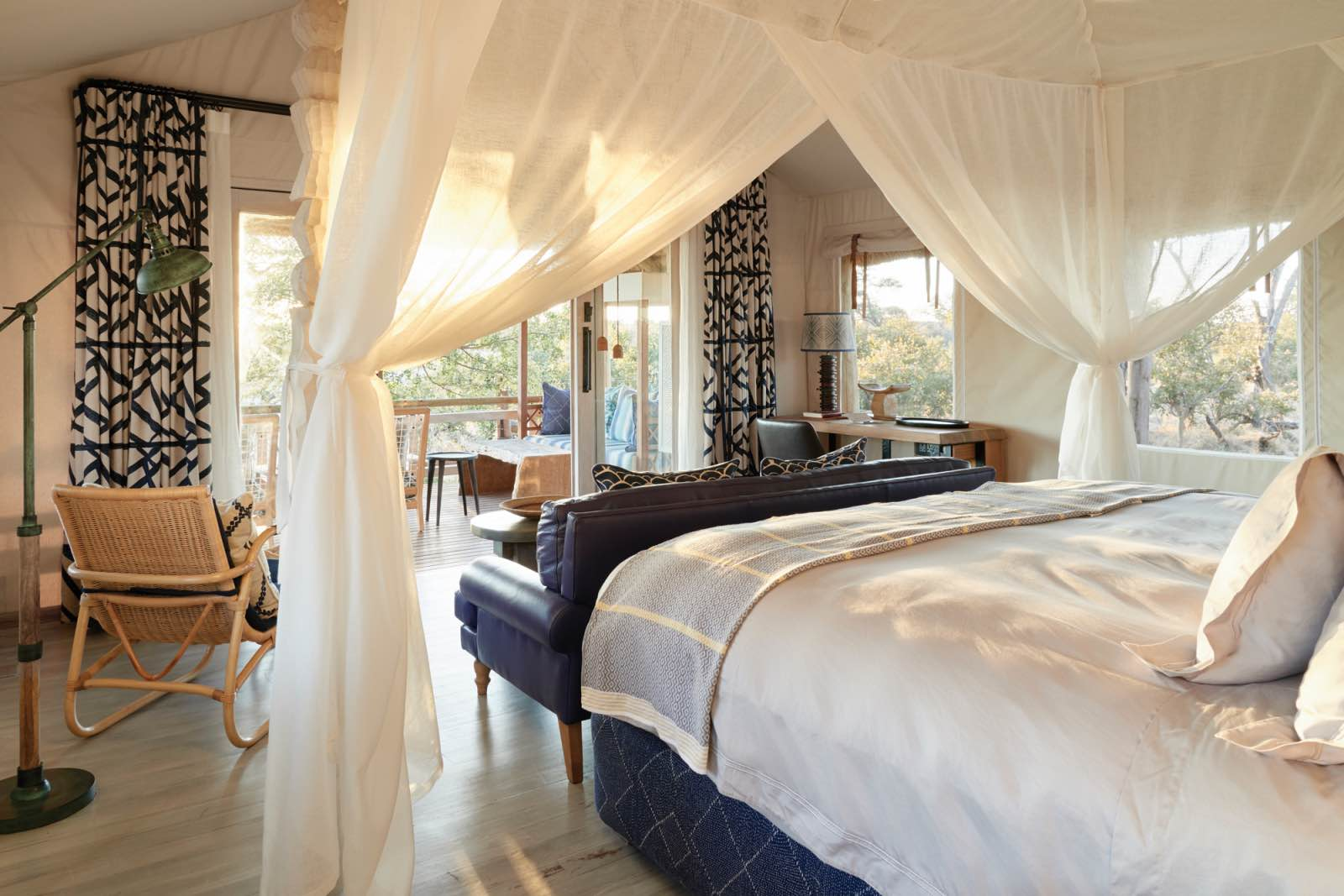 Inside the luxurious rooms at Savute Elephant Lodge