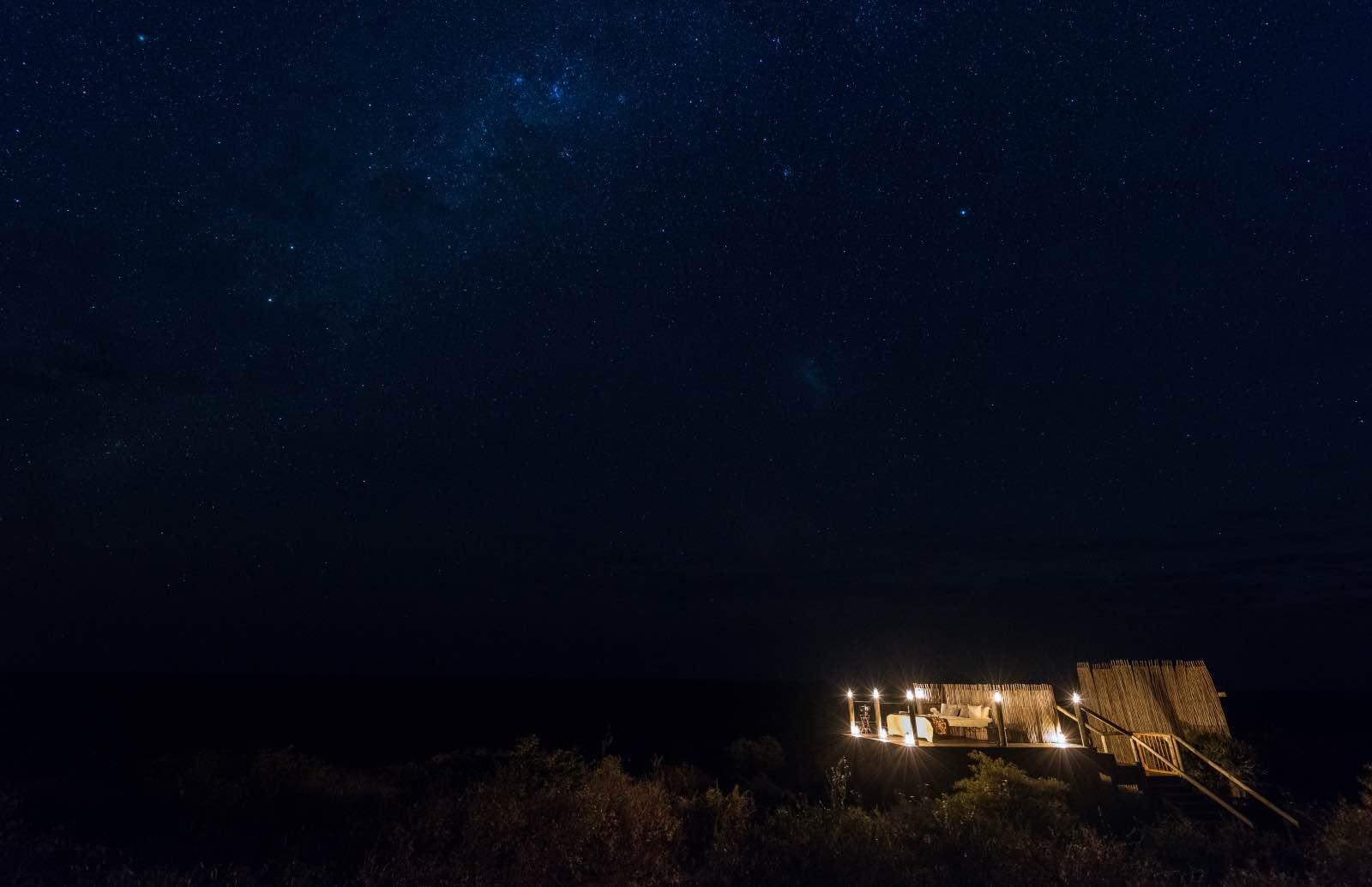 Stellar skies of the Kalahari seen above Tau Pan Camp