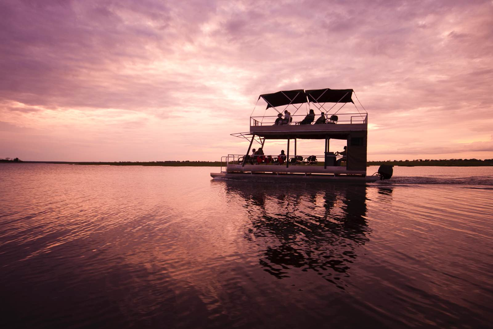 Sunset boat cruise on the Chobe