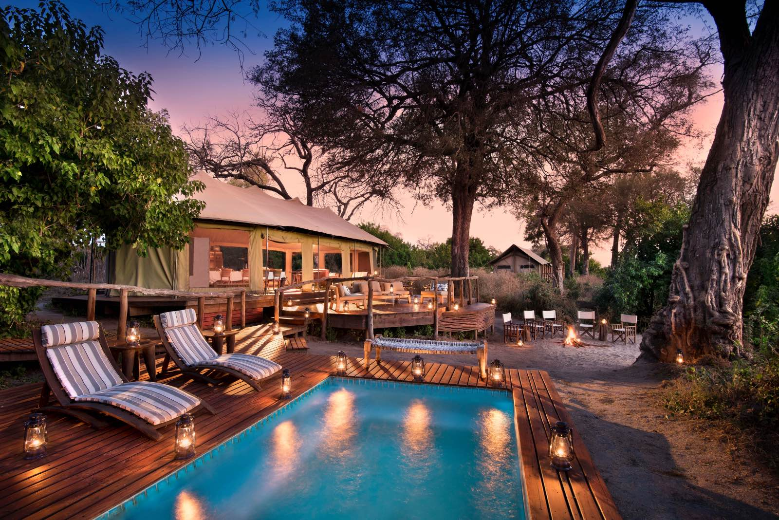 Swimming pool and outdoor area at luxury tented Linyanti Ebony Camp