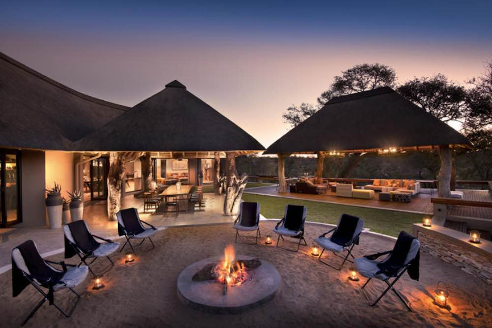 The open-air fire pit draws guests after an exciting game drive to sit and catch up under the stars