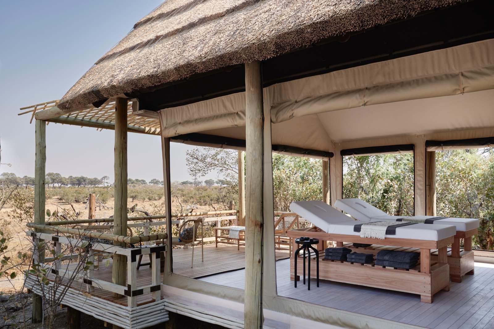 Tree-top spa treatment room at Savute Elephant Lodge