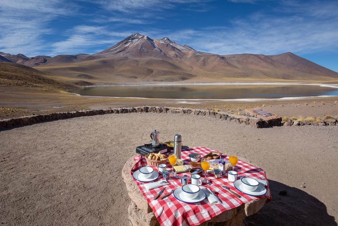 Awasi Atacama picnic on the lunar landscape