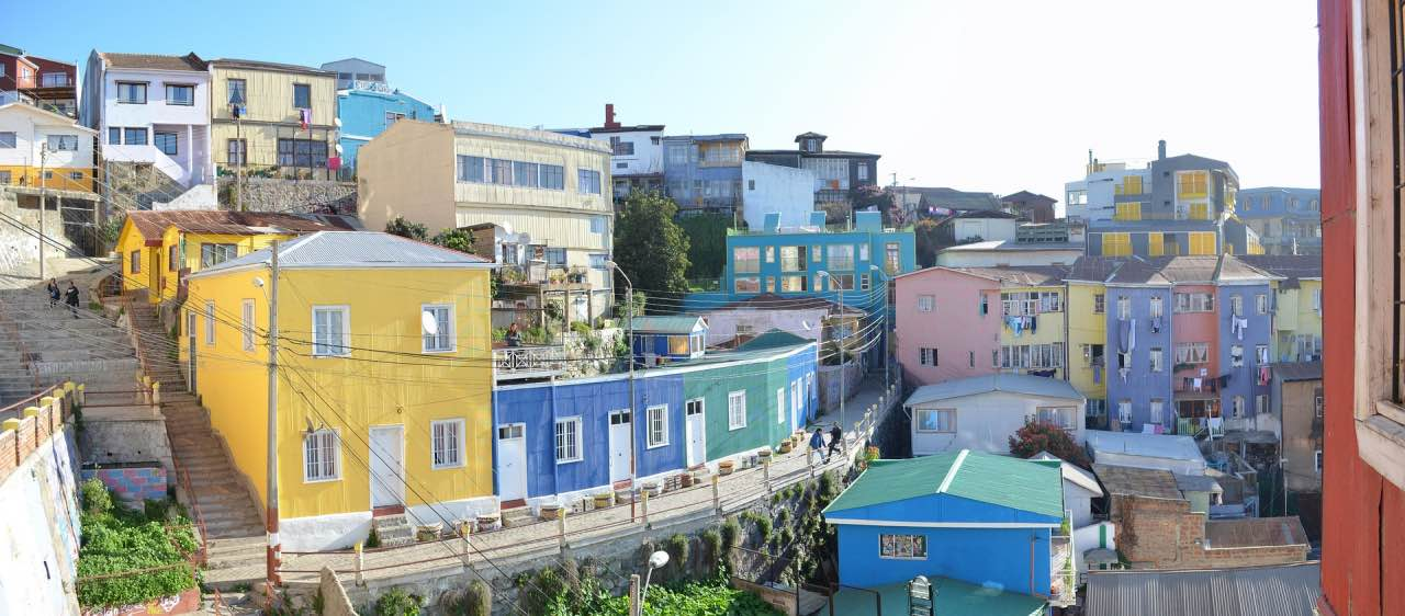Colourful houses on hills at Valparaiso