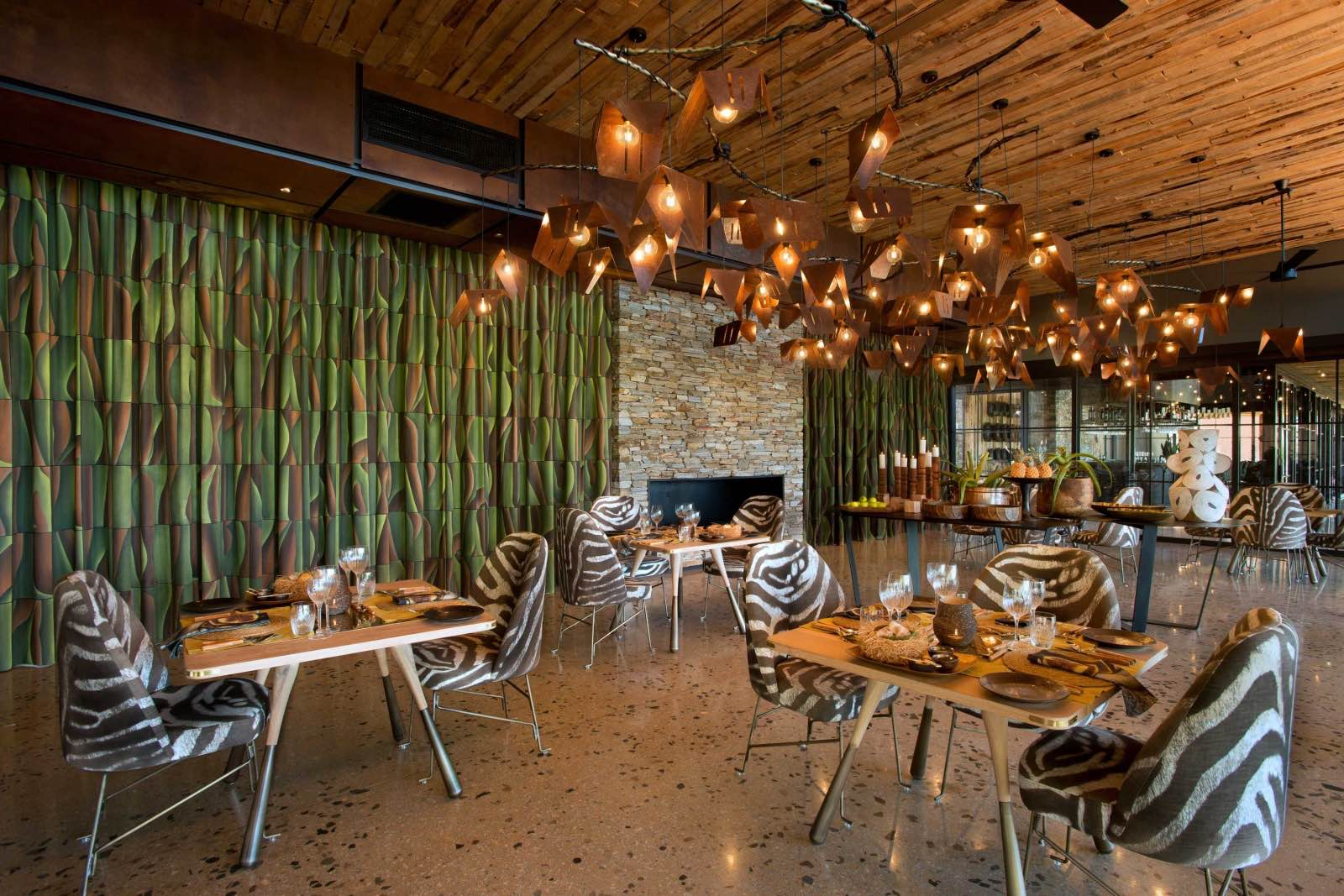 A modern-day jungle theme in the dining room