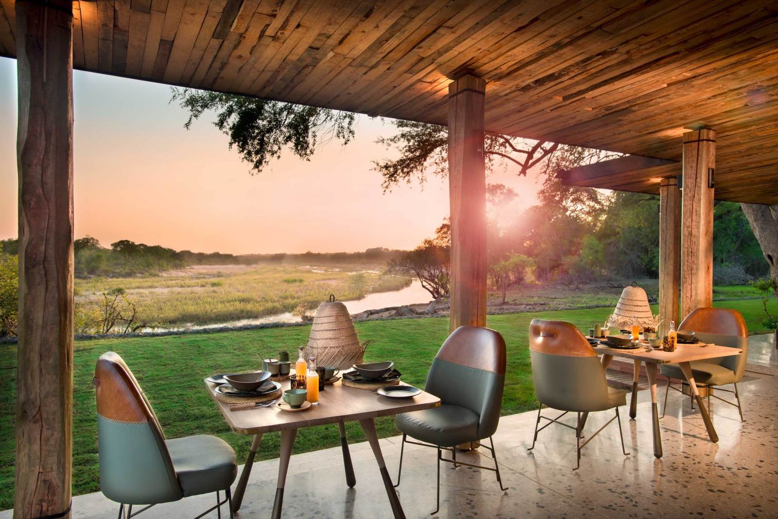 Dining on the verandah with views of the river