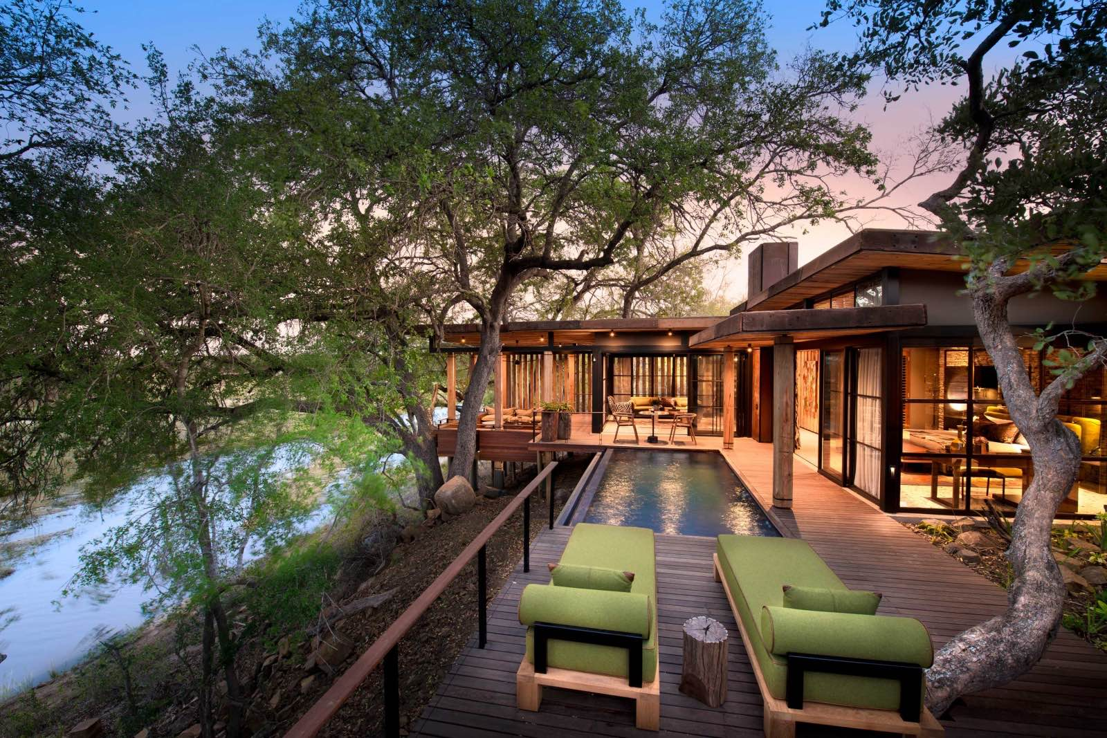 The expansive deck, lap pool, and viewing point of the Tengile guest suites