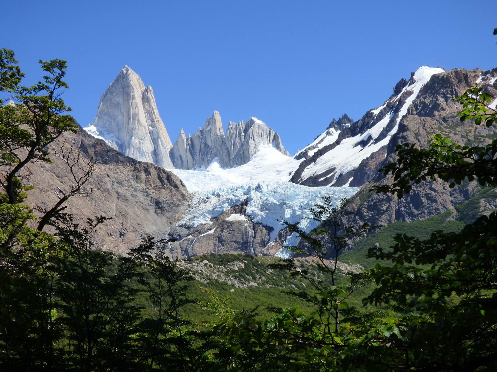 Hiking to the base of Cerro Fitz Roy, an icon of Patagonia Argentina.