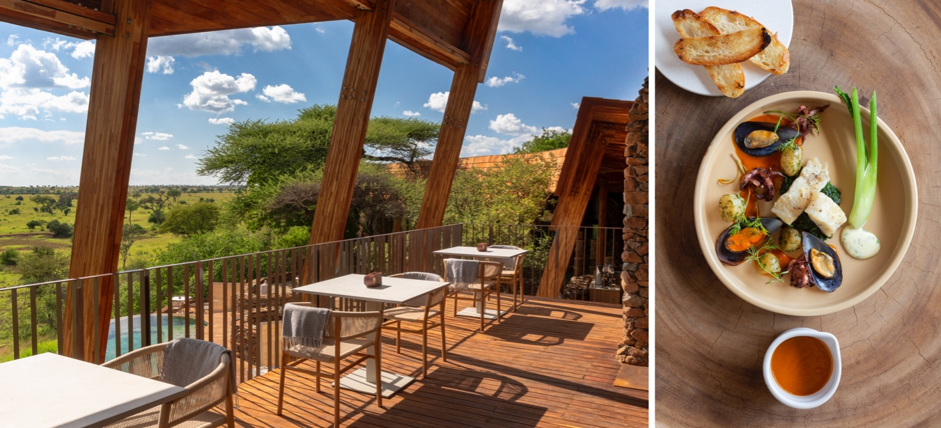 Outdoor eating with a view onto the waterhole and Grumeti landscape below