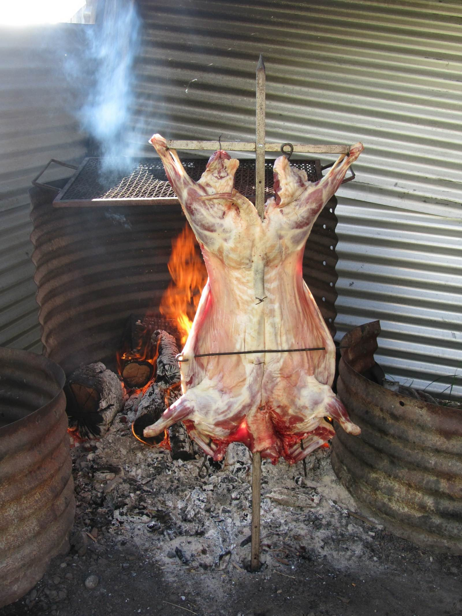Patagonian barbecue is traditionally a sheep on a rotisserie turning next to hot coals. One for the carnivores!
