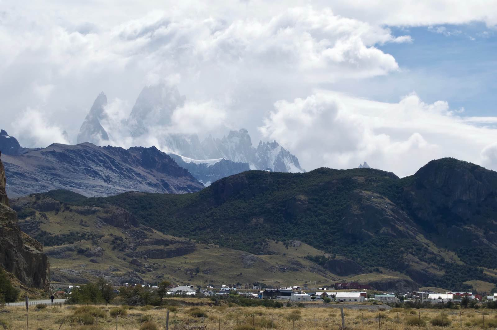 The town of El Chalten with the clouded image of Mount Fitz Roy in the background.