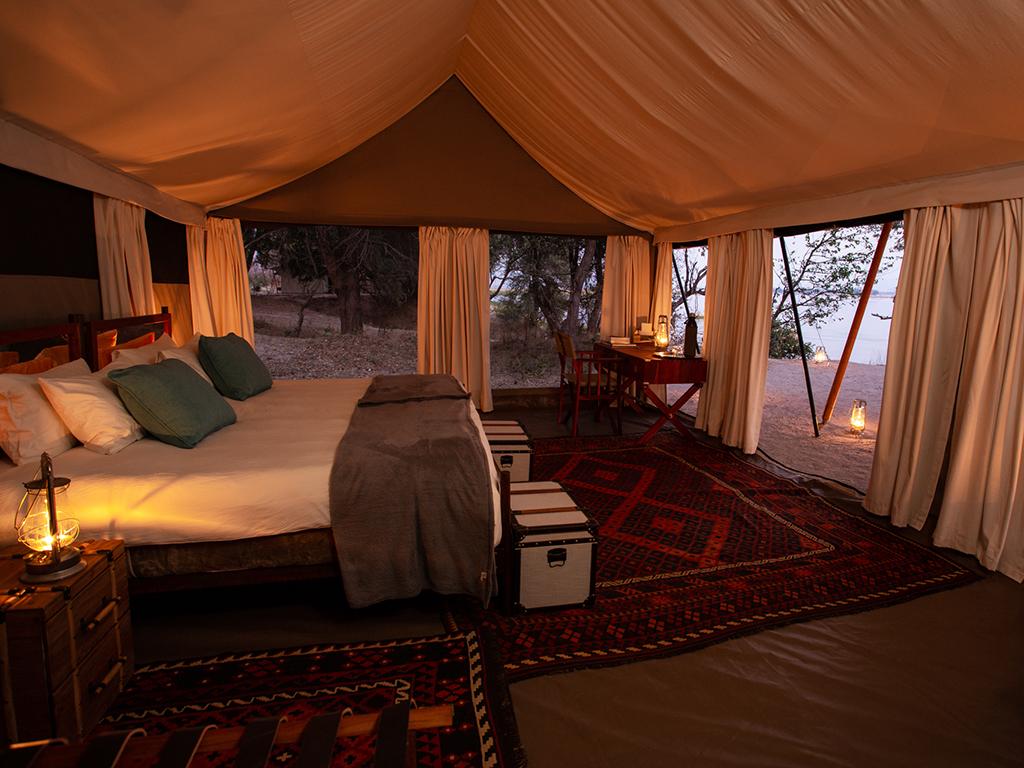 Inside the explorer safari tents at Sapi Explorers