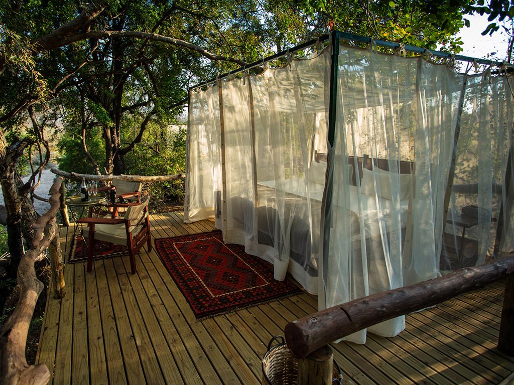 Open air sleeping platforms unique to Sapi Springs