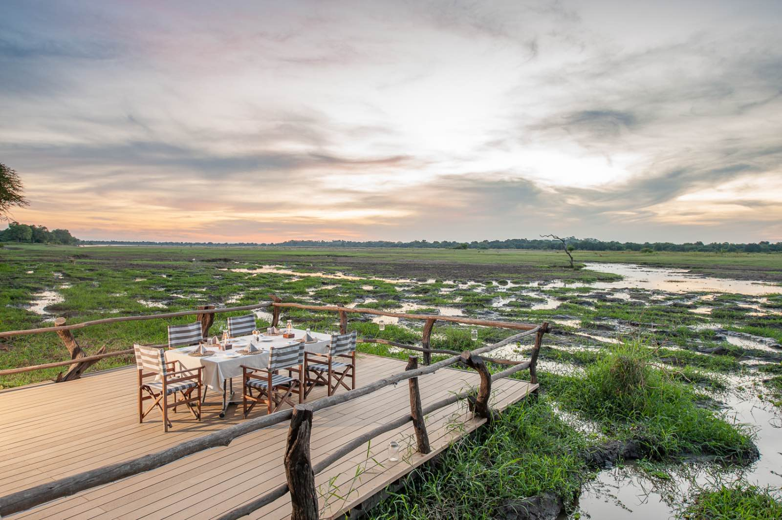 A dining table with endless views of the Luangwa floodplain