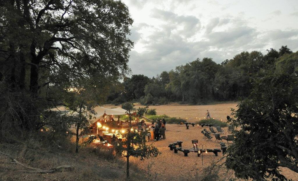 A glittering campsite in the Kruger wilderness