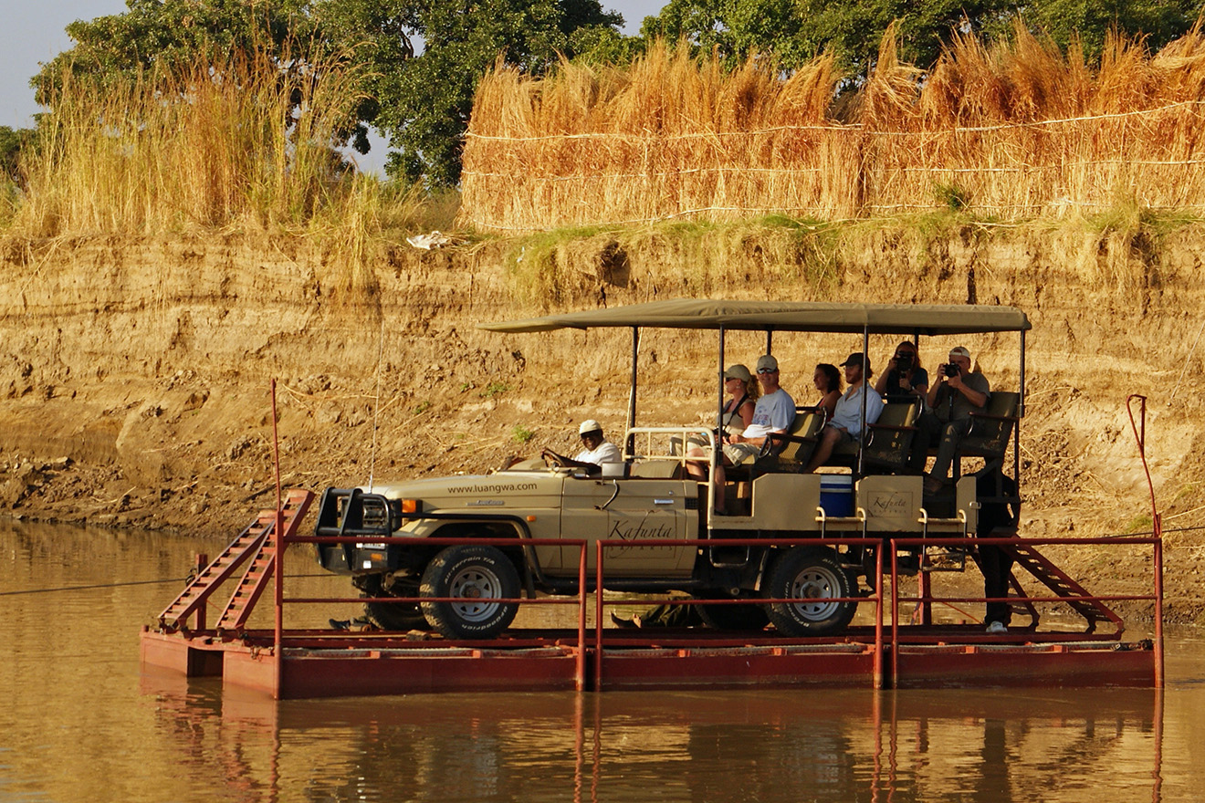 Crossing on the pont for a game drive in South Luangwa National Park