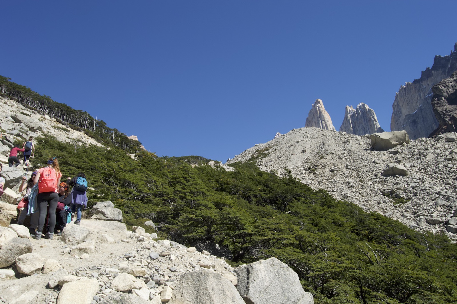 Hikers leading up the final ascent to the Torres on the Mirador Las Torres hike in February in Patagonia
