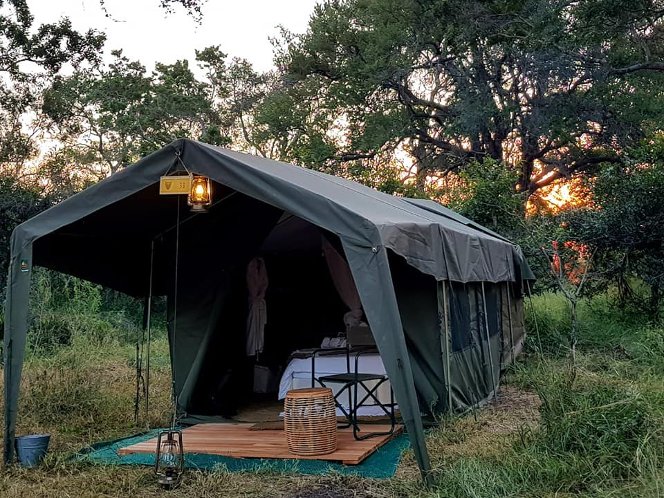 One of 25 canvas tents set up with luxurious finishes for a glamping experience in Kruger