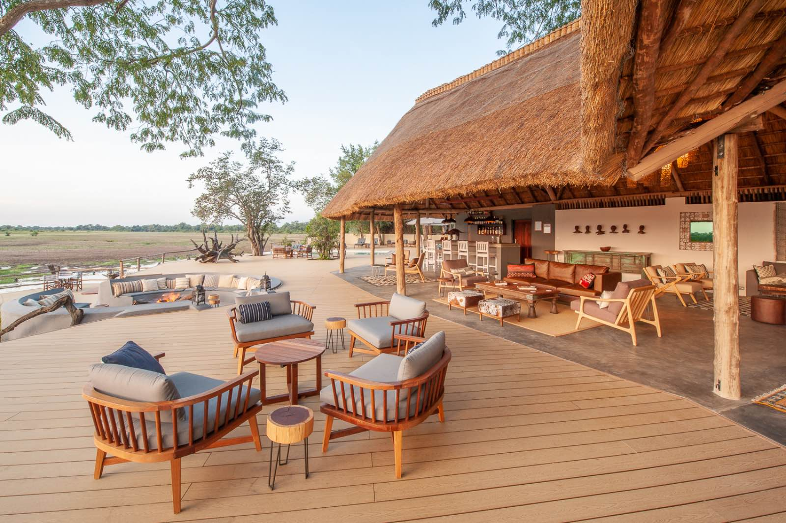 The expansive deck at Kafunta River Lodge offering plenty of places to sit and relax in the peaceful surroundings