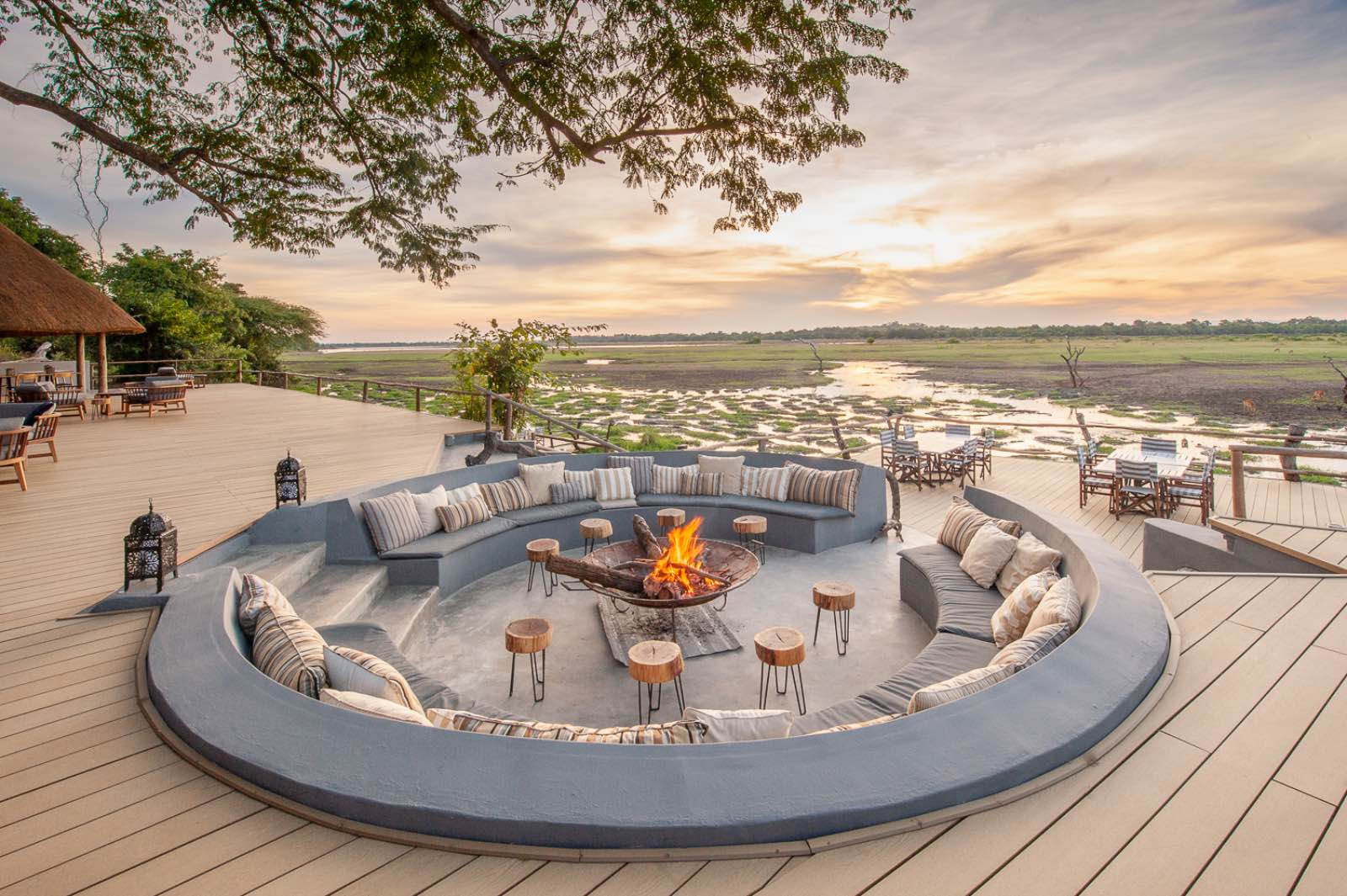 The sunken circular lounge surrounding the fire pit