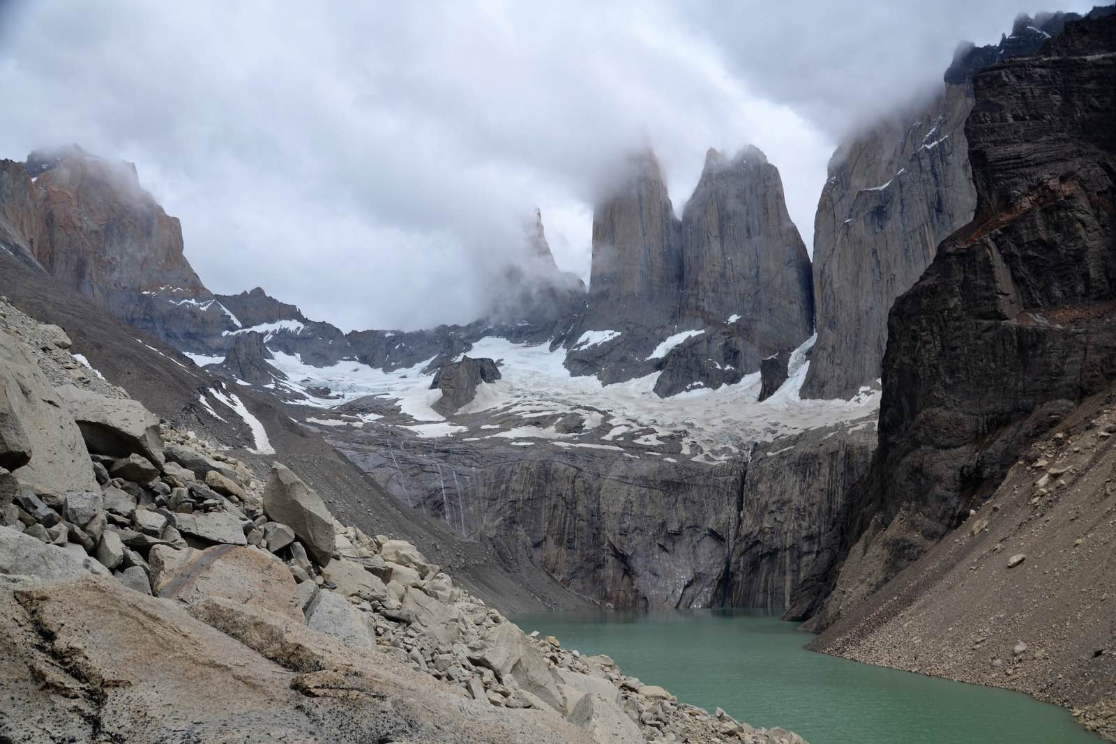 Torres del Paine covered in cloud