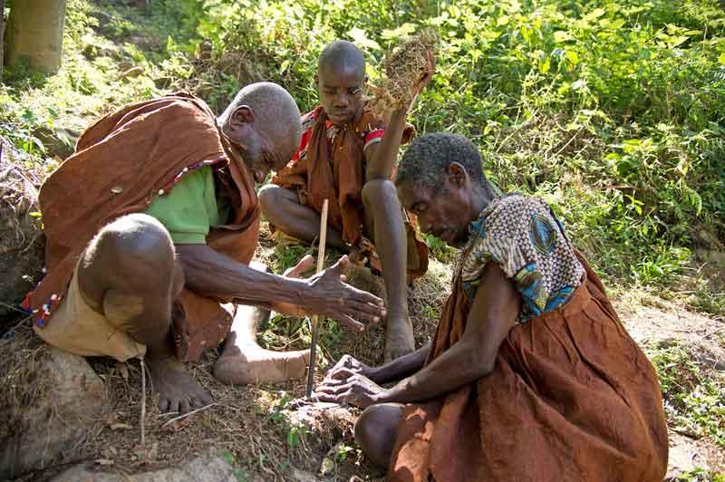 Batwa People Making Fire