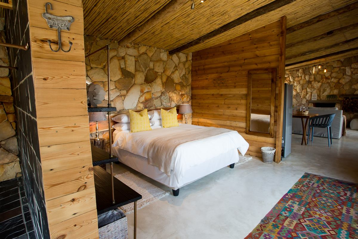 Plenty of stone and woodwork in luxury cabins at Kolkol