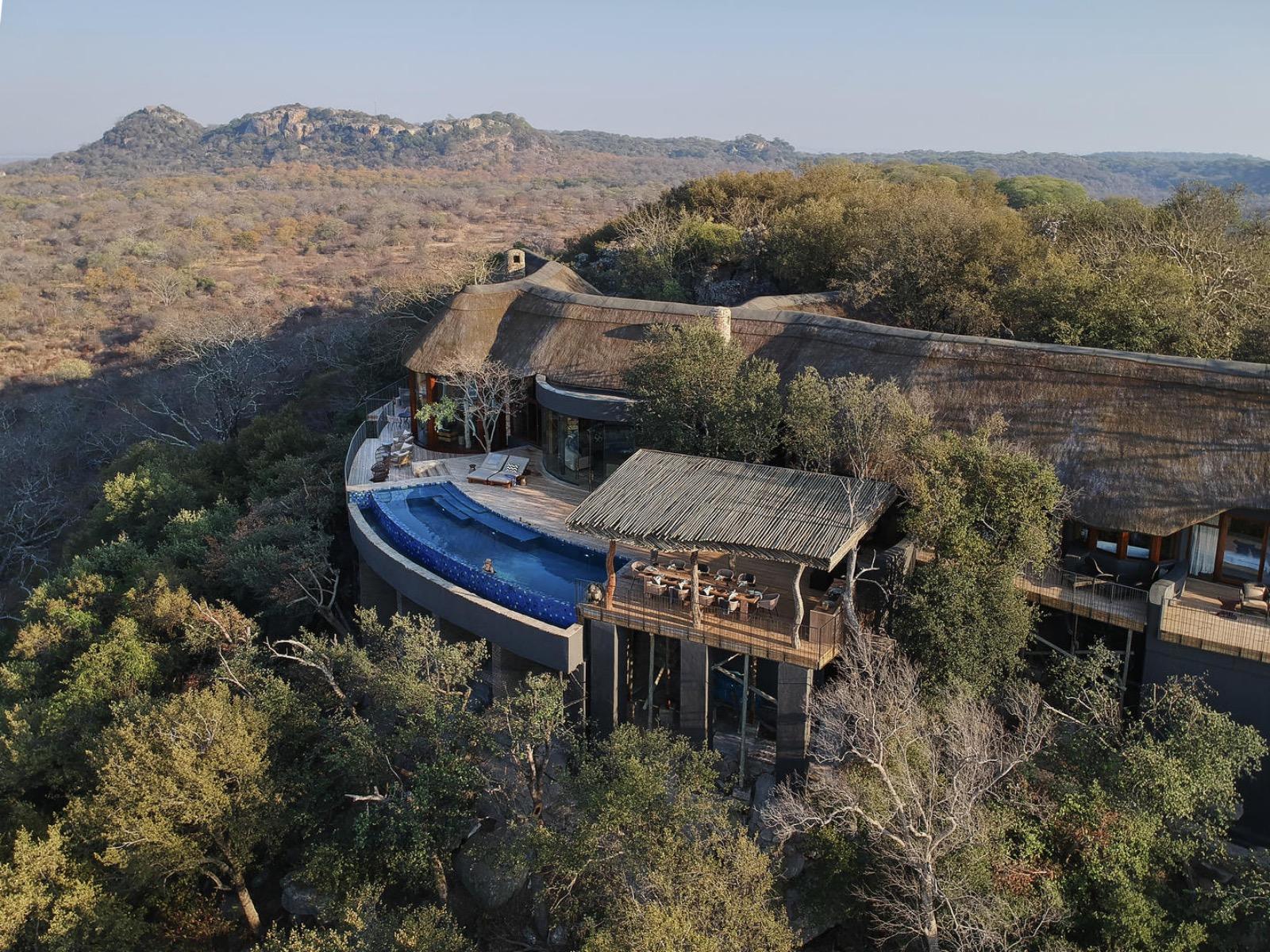 Singita Malilangwe House perched on a sandstone ridge above Malilangwe Dam
