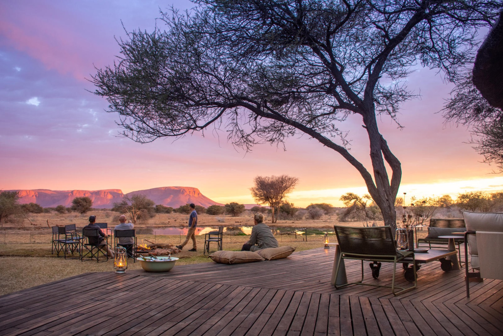Sundowners and a beautiful view at Explorers Camp